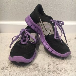 Nike Free Run Shoes Black & Purple